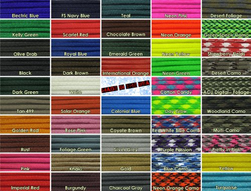 Paracord Planet 10', 25', 50', 100' Hanks & 250', 1000' Spools of Parachute 550 Cord Type III 7 Strand Paracord...