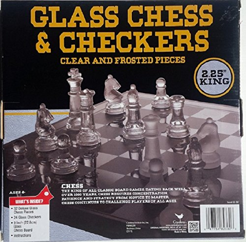 047754823806 - Classic Glass Chess Checkers Game Strategy Board Fun carousel main 0