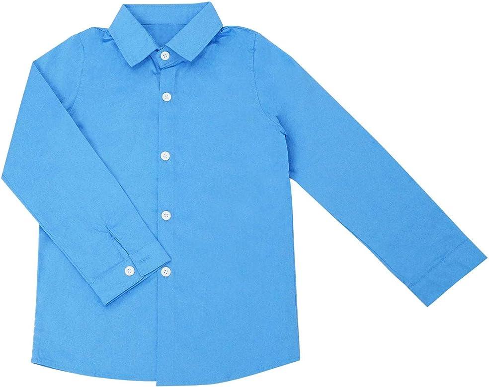 Happy Cherry - Camisa Abotonado de Algodón para Niño Transpirable Uniforme Escolar con Mangas Largas Formal Clásica - Azul - 3-11 Años: Amazon.es: Ropa y accesorios