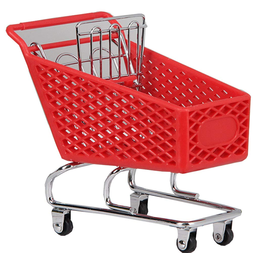 Blancho Bedding Mini Supermarket Handcart Mini Shopping Cart Toy,Desktop Storage, Red #5 by Blancho Bedding