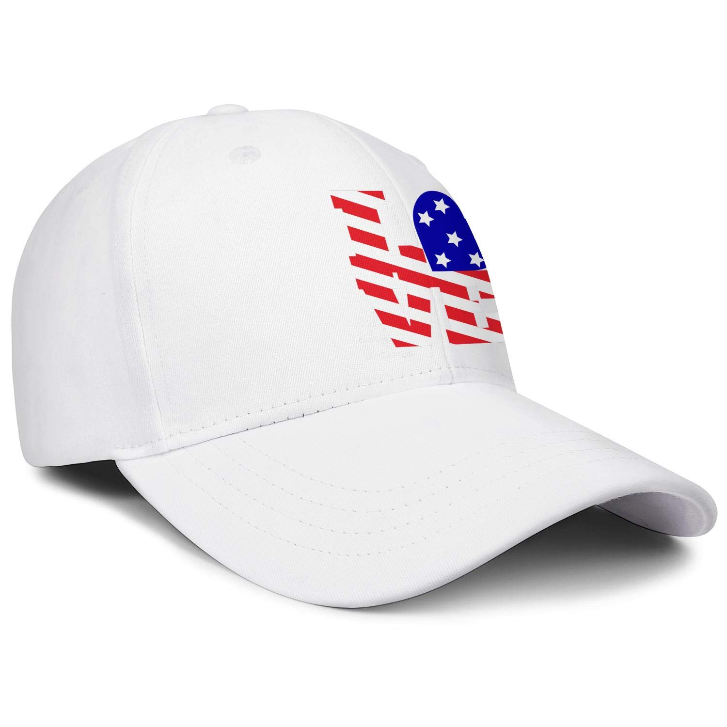 4th of July American Flag Love Heart Unisex Baseball One Size Low Profile Structured Snapback Cap