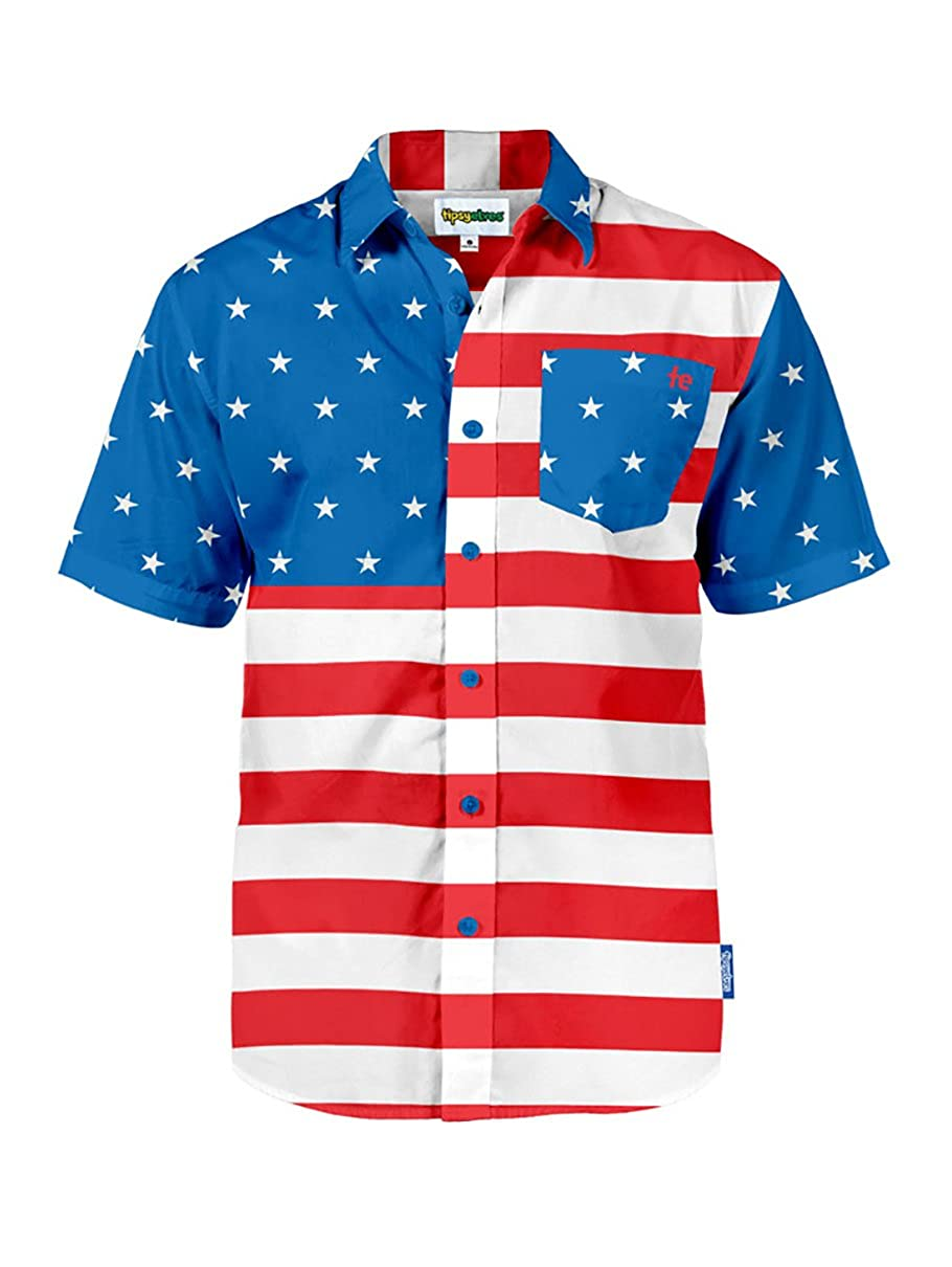 43d96d98 Tipsy Elves Men's American Flag Button Down Shirt - Patriotic USA Red White  and Blue Hawaiian Shirt at Amazon Men's Clothing store: