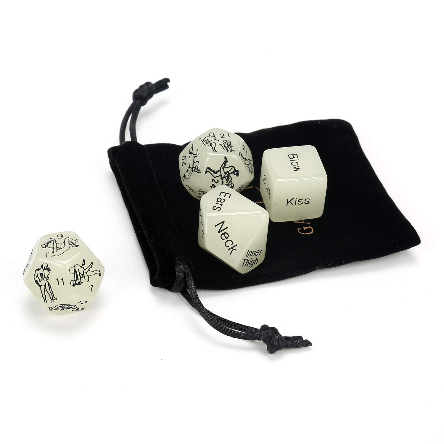 Black. Wedding Funny Romantic Party Luminous Dice Game Set of 4,Novelty Gift for Warm up Honeymoon bacherette Party,Him and Her Groom Roast,Newlyweds Anniversary Marriage Bridal Shower