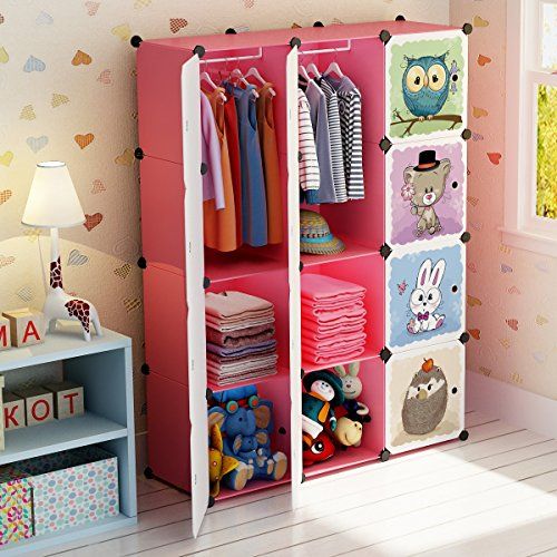 MAGINELS Portable Kid Organizers and Storage Organizer Clothes Wardrobe Cube Closet MultiFuncation Bedroom Armoire Children Dresser Hanging Rack,Pink, 8 Cubes&2 Hanging Sections