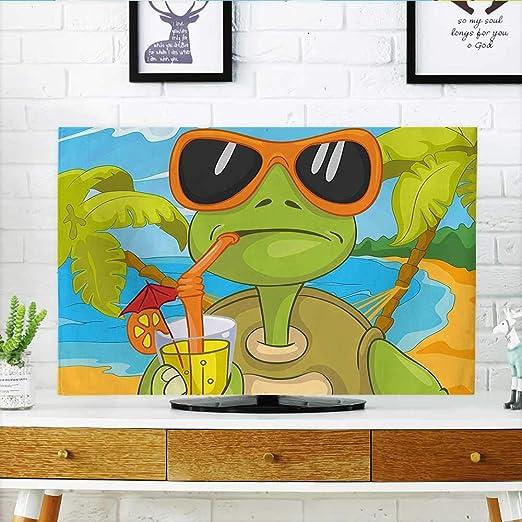 Jiahonghome Proteja su TV Sea Turtle con Gafas de Sol Beber cóctel en la Playa Dibujos Animados Verde Naranja luz Proteger su TV W19 x H30 Pulgadas/ TV 32 Pulgadas: Amazon.es: Hogar