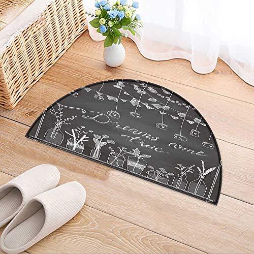 (Simple Modern Semi-Circular Non-Slip Carpet Drawn Borders Garlands Jars Bottles with Flowers Chalkboard Background Lamps Bedroom Bathroom Rug W31 x H20 INCH)