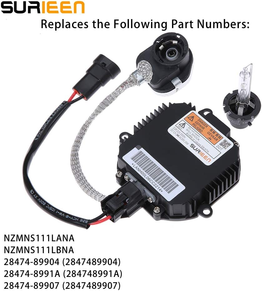 28474-89907 Premium Replacement Computer Module for NZMNS111LANA 28474-8991A Fit for Fit for Infiniti Nissan 28474-89904 Updated Xenon HID Ballast Headlight Control Unit Assembly with Igniter