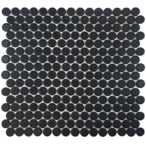 SomerTile FKOMPR22 Penny Porcelain Floor and Wall Tile, 12'' x 12.625'', Matte Black by SOMERTILE