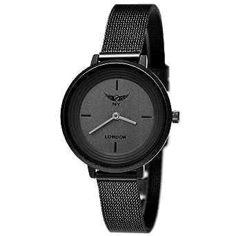 9f9f2c232f2 Elegant Designer NY London Ladies Watch Milanese Bracelet Flat Classic  Analog Quartz Black Watch  Amazon.co.uk  Watches