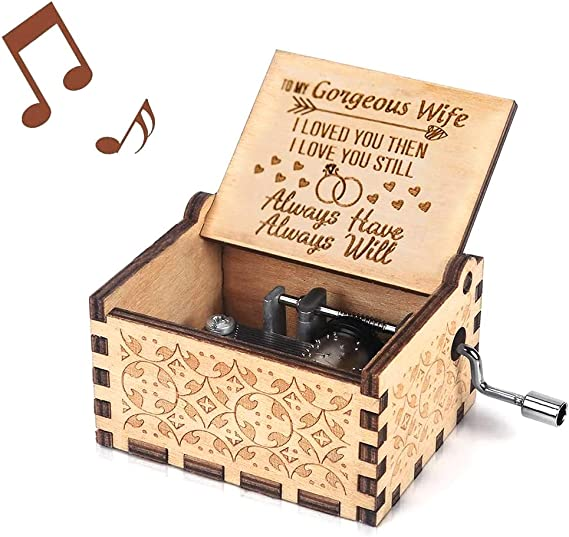 You Are My Sunshine Music Box Gift For Wife From Husband Vintage Wooden Hand Crank For Wedding Anniversary Valentine S Day Birthday Wood Home Kitchen