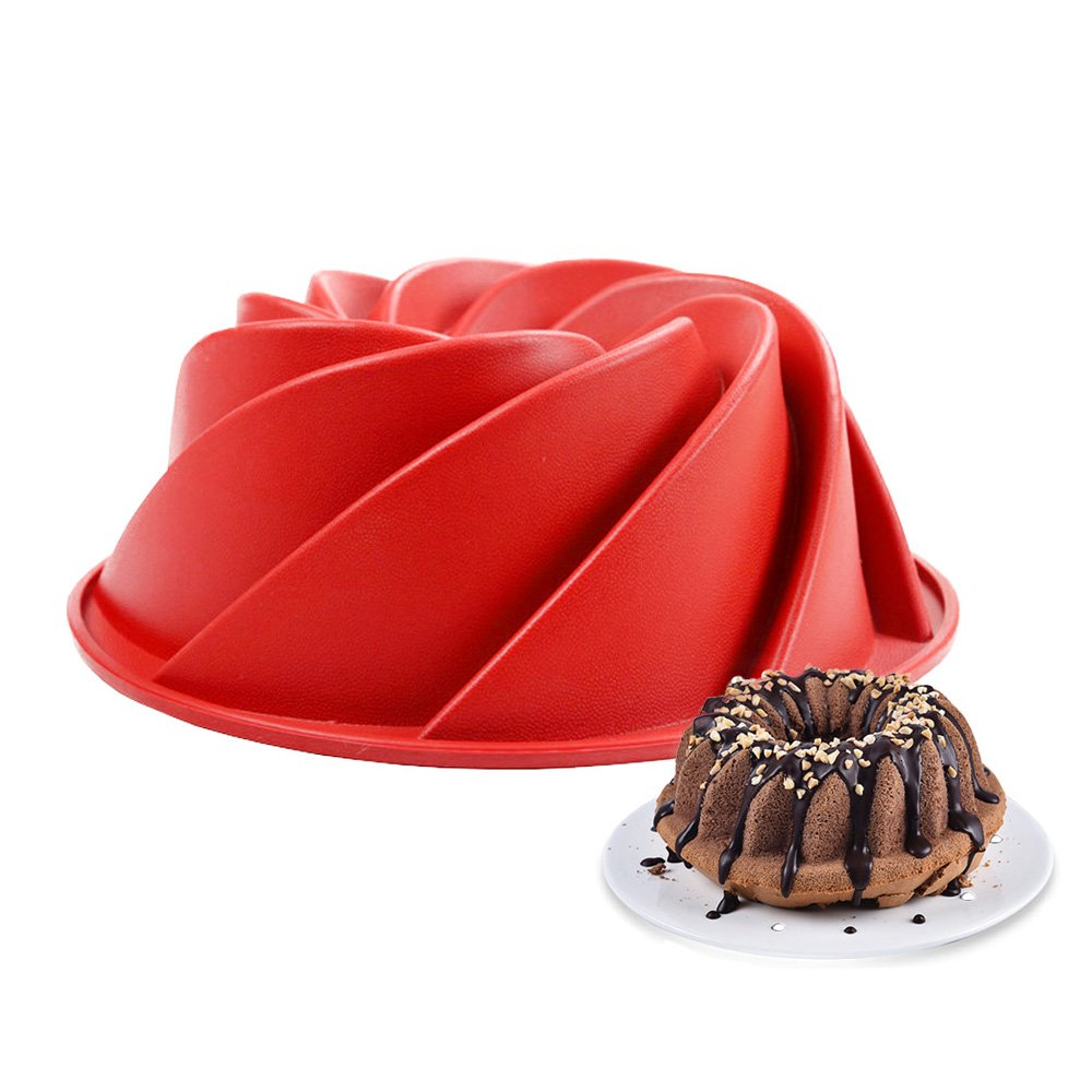 Silicone Cake Bundt Pan Non-Stick Reusable Cake Mold Fancy Dessert DIY Decorating Baking Mould (Red) Ouchver