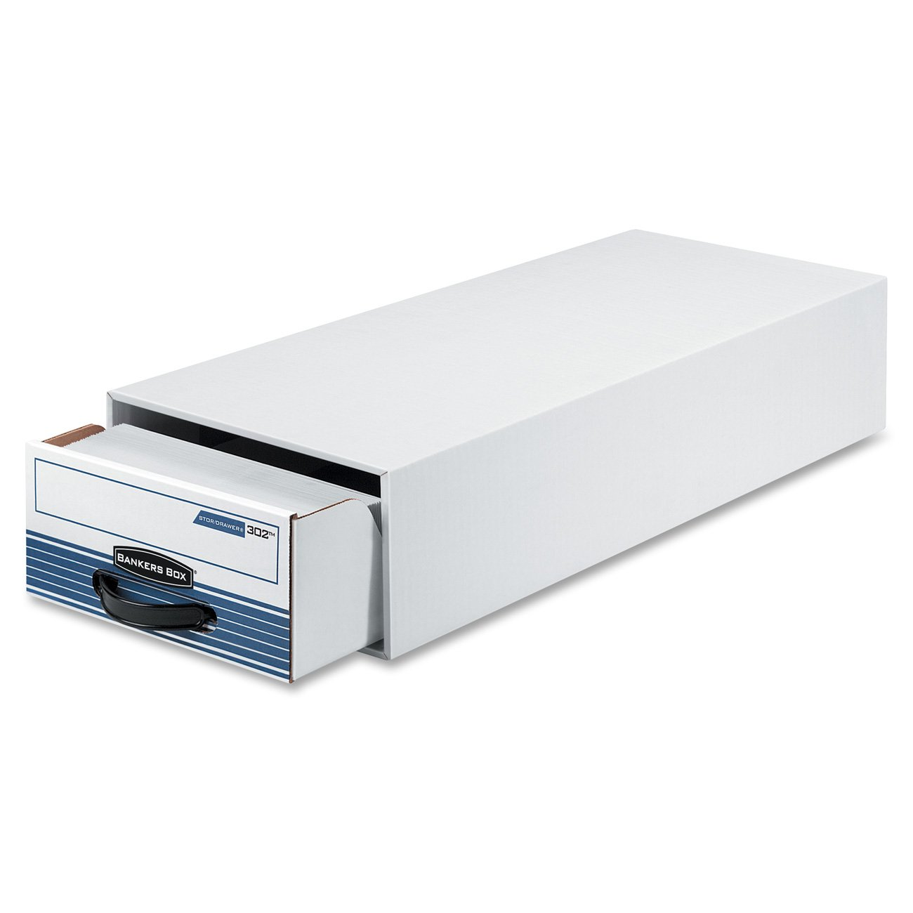 Bankers Box 00302 STOR/DRAWER Steel Plus Storage Box, Check Size, Wire, White/Blue (Case of 12)