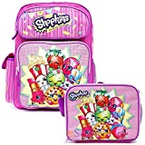 """Shopkins Large 16"""" Inches Backpack with Matching Lunch Bag Set - Licensed Girls"""