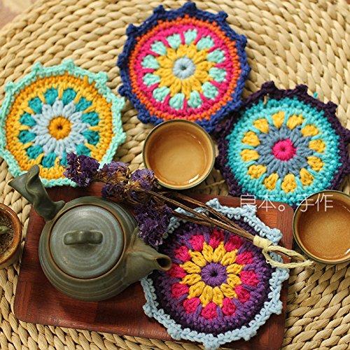 Crochet Wool Spinning Coasters Mat Christmas Halloween Gift -