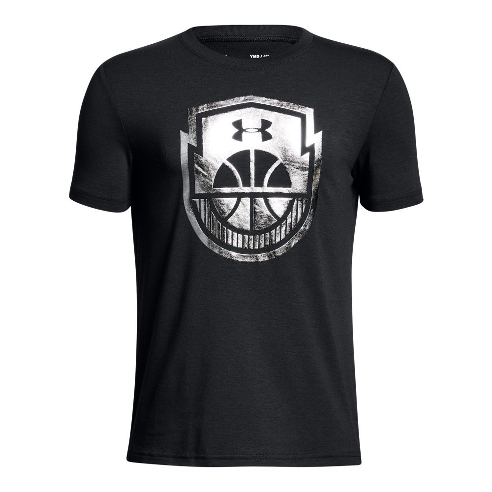 Under Armour Boys' Basketball Icon T-Shirt, Black (001)/Metallic Silver, Youth X-Large