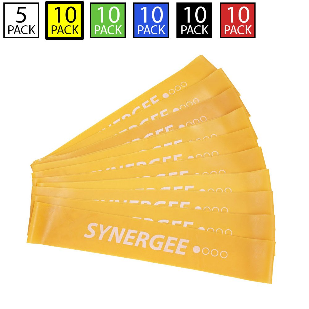Synergee 10 Pack Mini Band Resistance Loop Exercise Bands Yellow Light Resistance