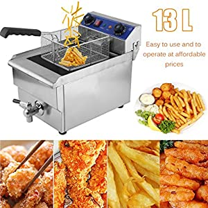 Belovedkai Electric Deep Fryer, 13L/26L Stainless Steel Commercial Electric Deep Fat Fryer Temperature Control Timing Fryer with Drain & Basket,Single Tank/Dual Tank (13L Single Basket)