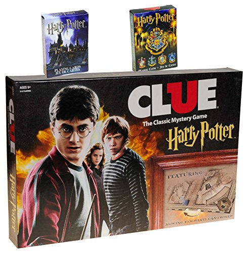 Clue Harry Potter Board Game _ Bonus 2 Unique Decks of Harry Potter Themed Playing Cards _ Bundled Items by Deluxe Games and Puzzles