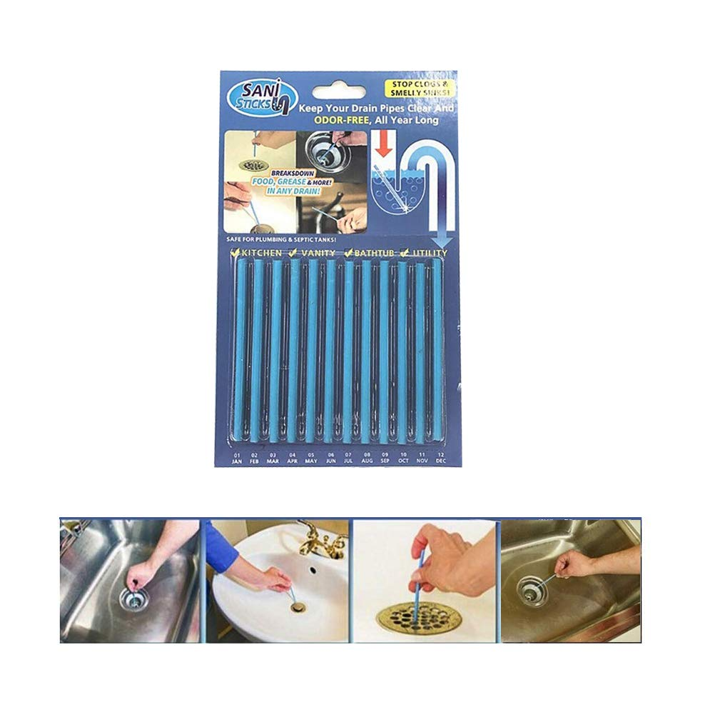 Sani Sticks GHONLZIN Drain Sticks 1 Packs(12 pcs) Keeps Drains and Pipes Clear and Odor Cleaning Tool Tub Decontamination Hair Clean As Seen On TV