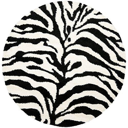 Safavieh Zebra Shag Collection SG452-1290 Ivory and Black Round Area Rug (6'7