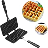 Waffle Iron Large Family, Dual Head Household Kitchen Gas Non-Stick Waffle Maker Pan Mould Mold Press Plate Baking Tool, Cookware