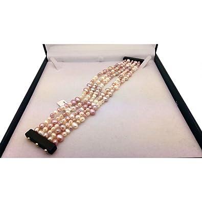Armband Damen 5 Drähte Perlen Weiße, Ebenholz schwarz, magnetischer ...