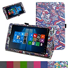 "iRULU Walknbook 3Mini Case,Mama Mouth PU Leather Folio 2-folding Stand Cover for 8"" iRULU Walknbook 3Mini / 8 Inch Windows 10 Tablet,Mushroom Fantasy"