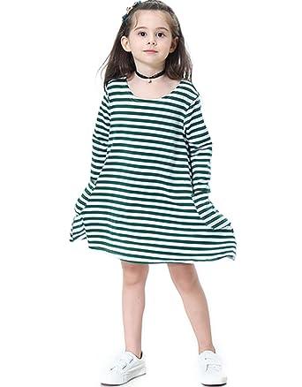 f461a3c6831d Miss Bei Girl's Kids Long Sleeve Stripe Holiday Casual Loose T-Shirt Dress  Maxi Dress