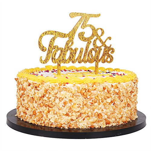 QIYNAO Gold Premium Quality Acrylic 75& Fabulous Cake Topper Happy 75th Birthday Anniversary Party Decoration