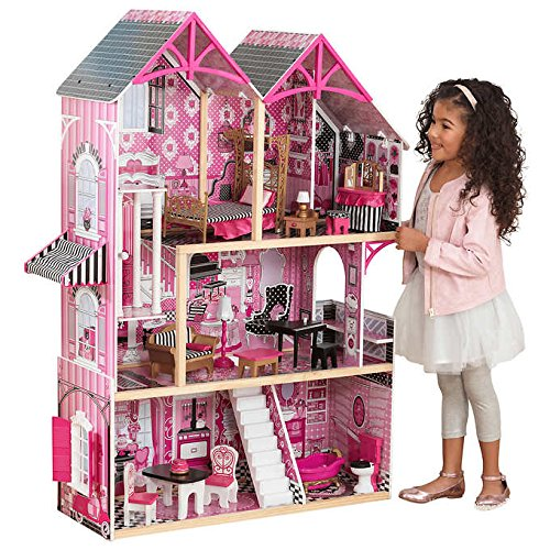 NEW! KidKraft Bella Dollhouse, 4' Tall Dollhouse with Three Levels, Five Rooms and a Second Floor Balcony,featuring a Piano that Plays Music and MORE!!! by .KidKraft.
