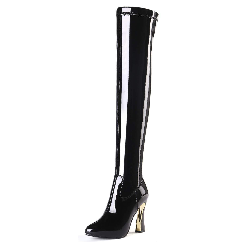 Asupermode Damen Lackleder Over Knee Oberschenkel Hoher Stiefel Lackleder Damen Elastisch Blockabsatz Reißverschluss Stiefel 4953f9