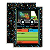 Game Truck Video Gamer Birthday Party Fill In Invitations, Ten 5''x7'' Fill In Cards with 10 White Envelopes by AmandaCreation