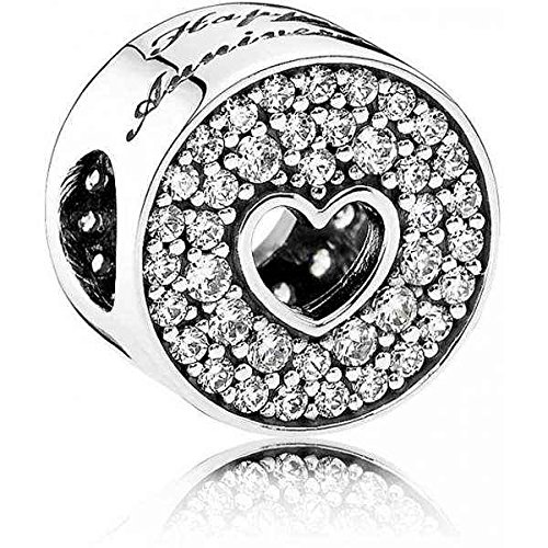 Pandora Jewelry – Pavé And Heart Anniversary Charm In Sterling Silver With Clear Cubic Zirconia