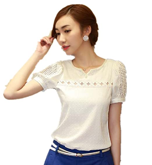 Summer Blouses Fashion Women Lace Summer Shirt V Neck Hollow Out