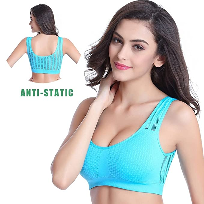 cc988510e00c2 AOBRITON Women Hollow Out Sports Bra Mesh Push-up Sport Bra Yoga Fitness  Vest Bra Workout Running Tank Top Bra at Amazon Women s Clothing store