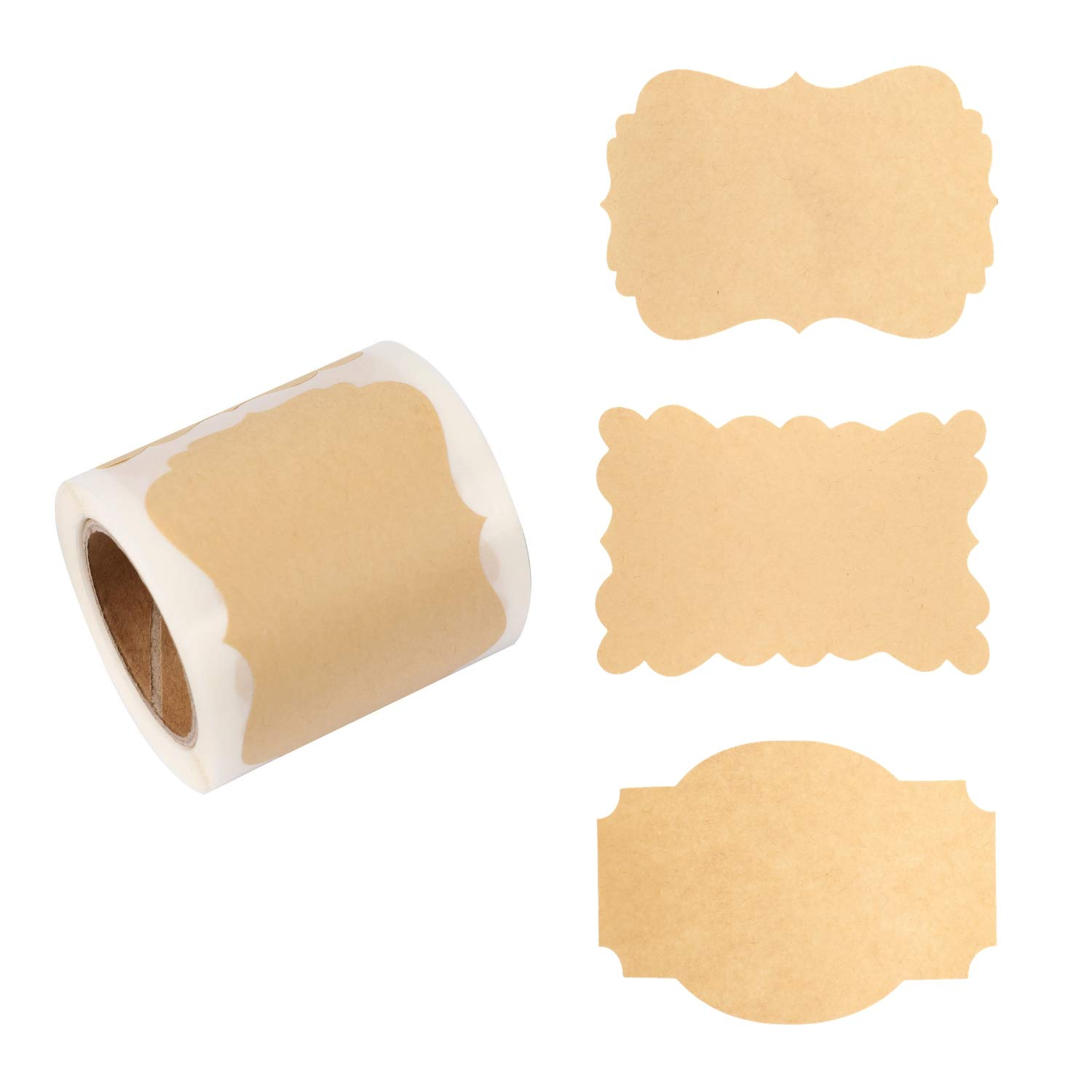 """Houseables Label Stickers, Labels for Jars, 2"""" x 3"""", 100/Roll, Brown, Paper, Self-Adhesive, Kraft Blank Sticker, Peel, Stick On, Write, Use with Canning Jar, All Purpose, Product, Labeling, Candle"""