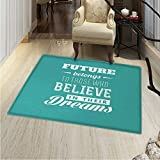 Motivational Area Silky Smooth Rugs Hipster Letters Saying Advice Believe in Your Dreams Have Faith in Yourself Home Decor Area Rug 40''x55'' Teal White