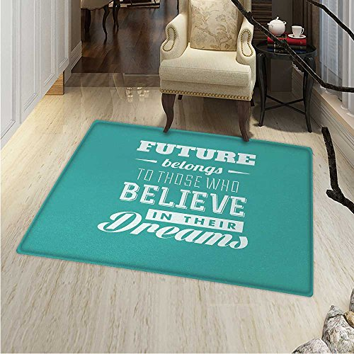 Motivational Area Silky Smooth Rugs Hipster Letters Saying Advice Believe in Your Dreams Have Faith in Yourself Home Decor Area Rug 40''x55'' Teal White by Anhounine