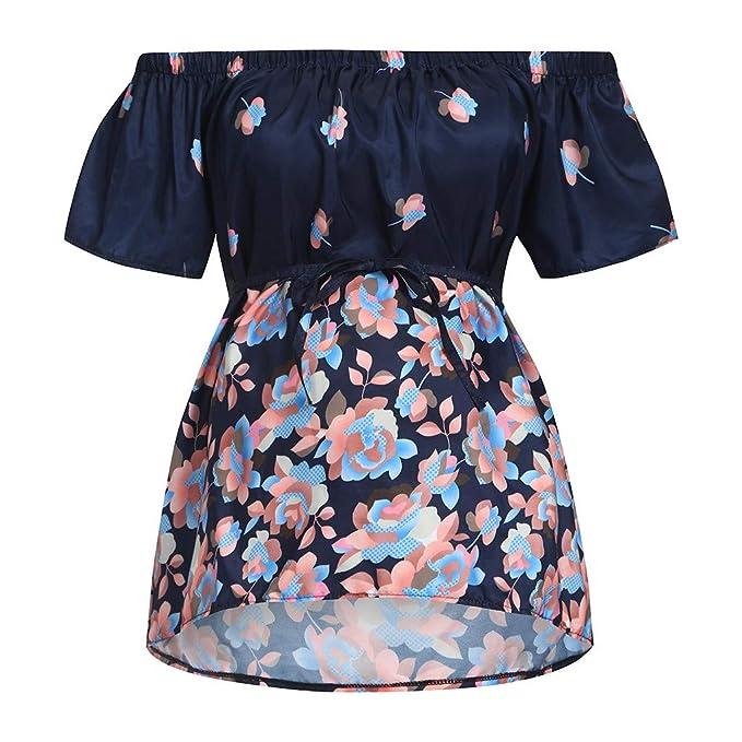 6f1f9b3989fa8 Amazon.com: Luonita Womens Maternity Top Sweet Floral Print Cold Shoulder High  Waist Pregnancy Cloth: Clothing