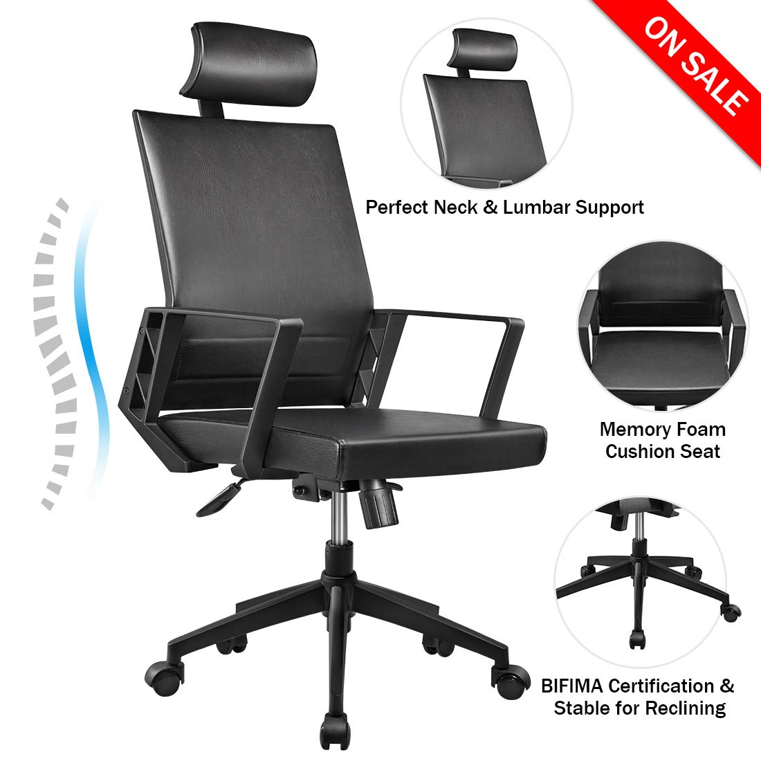 YOUNBO Office Chair High Back Leather Executive Computer Desk Chair, Adjustable Tilt Angle Headrest Lumbar Support Ergonomic Swivel Chair with Armrest Pads for office
