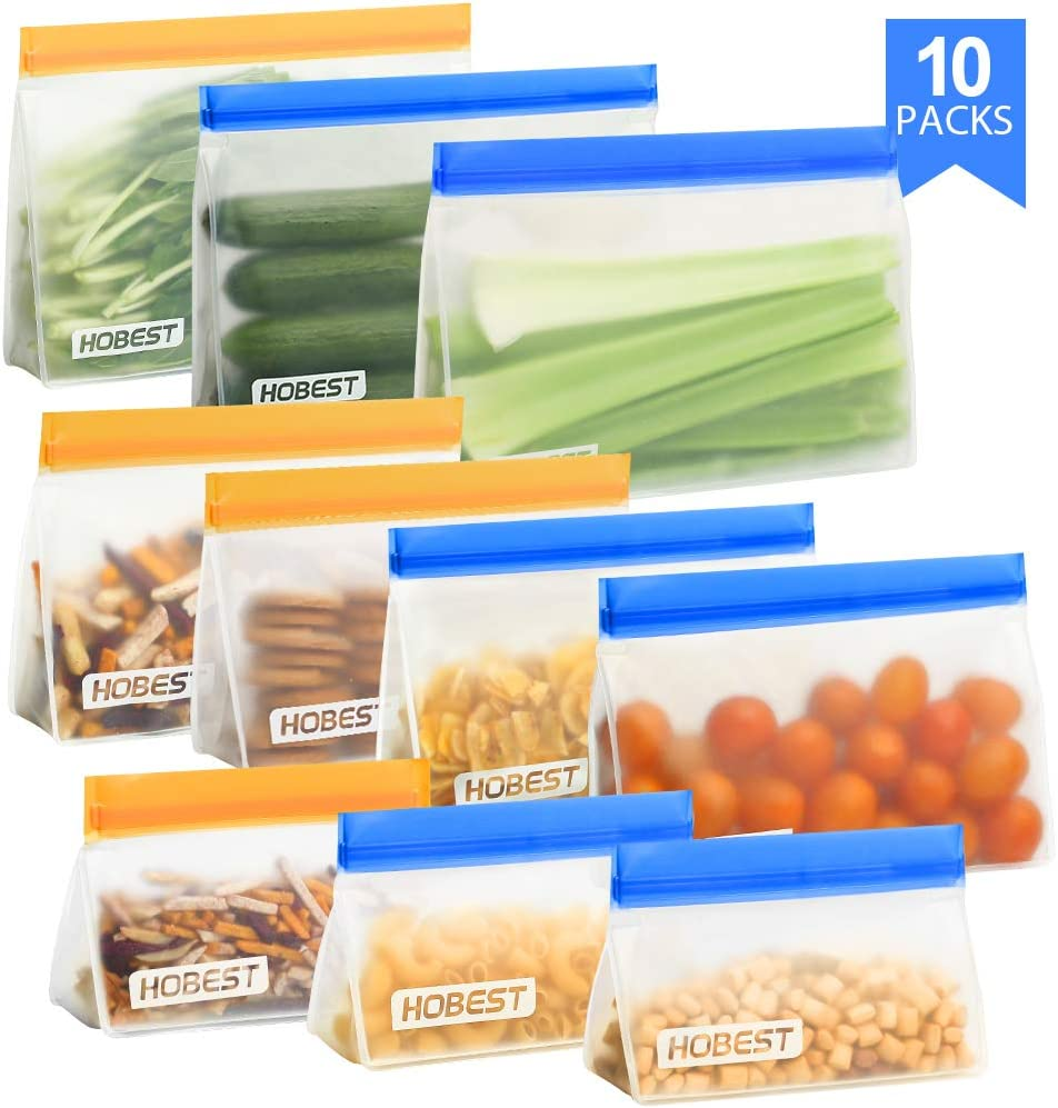 Reusable Storage Bags,Hobest 4 Stand Up Sandwich Bags, 3 BPA Free Snack Bags for Kids, 3 Leakproof Freezer Bags for Lunch 10 Pack