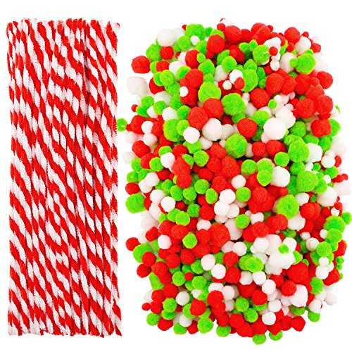 Cooraby 1000 Pieces Christmas Pompoms Assorted Size and Color Pom Poms with 100 Pieces Striped Chenille Stems Pipe Cleaners for Craft Supplies (Christmas Color)
