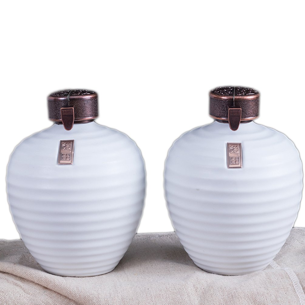 Linshing Ancient Chinese Style Retro Porcelain White Wine Jar Storage Container with Lid & Box 陶瓷白酒坛子 (2pcs white 0.5L capacity+2pcs black 0.5L capacity+box) by Linshing-by (Image #7)