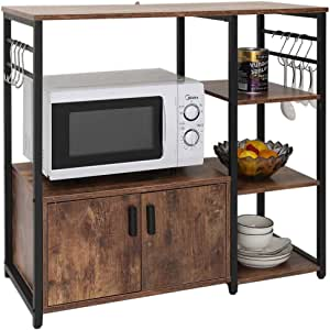 IWELL Kitchen Baker's Rack with 1 Cabinet and 8 Hooks, Microwave Oven Stand, 4 Tier Kitchen Storage Cart, Utility Storage Cabinet with Metal Frame, Coffee Bar, Rustic Brown ZWJ001F