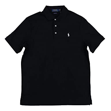 36a44794b Polo Ralph Lauren Men's Polo Shirt Classic Fit Three Button Front Placket  (S, Black