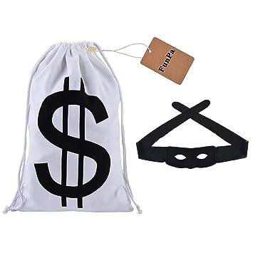 FunPa Disfraz de Ladrón, Bandit Ladrón Ladrón Costume Cosplay con Eye Máscara+ Bolsa de Dinero Favores de Fiesta de Juguete para el Día del Niño, ...