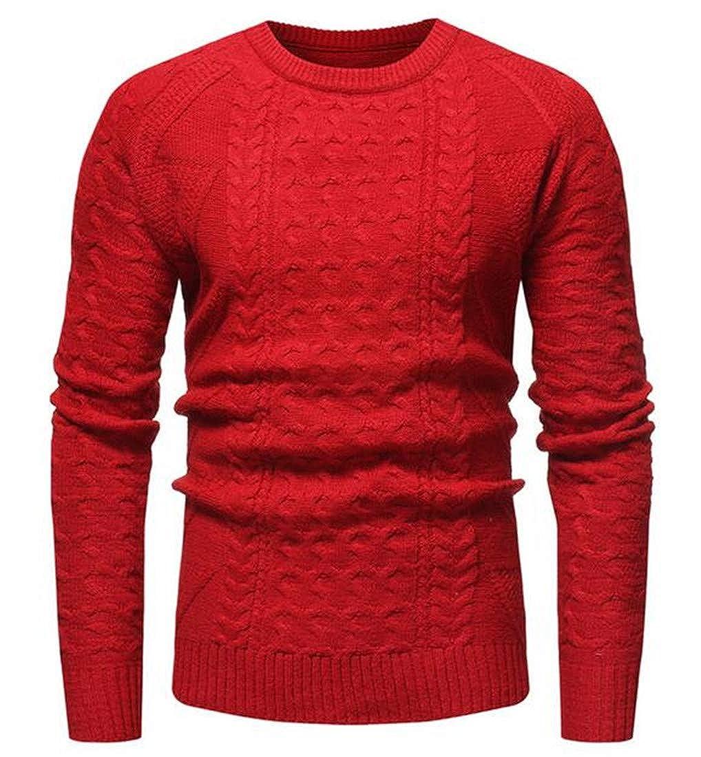 JXG Men Round Neck Twist Jacquard Jumper Knit Classic Pullover Sweater