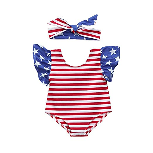 6ae2d2a74e4 Vincent July Newborn Infant Baby Girls Stars Striped Rompers Jumpsuit with  Headband 4th of July Outfits (