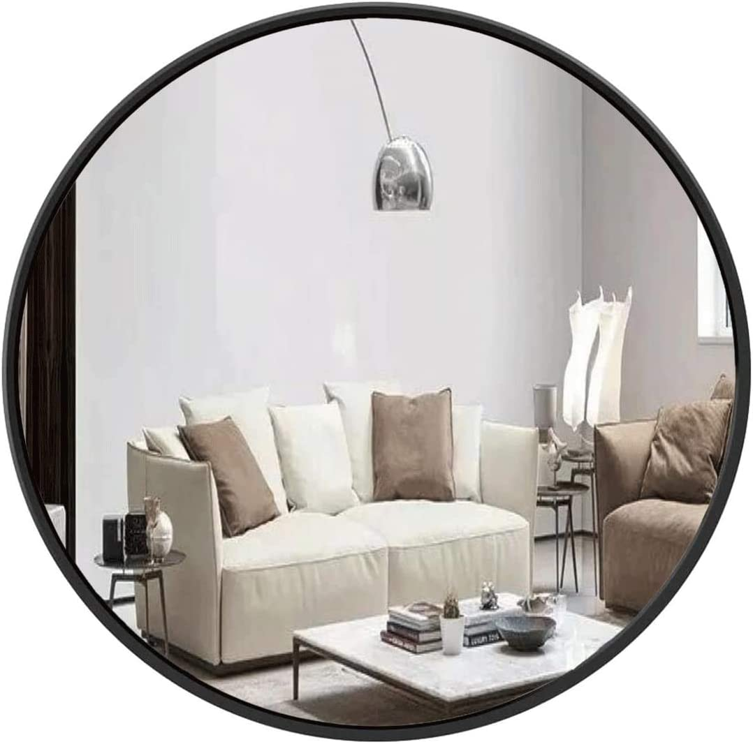 Large Round Mirror, 39 Inch Wall-Mounted Mirror, Metal Round Mirror, Black Circular Mirror for Bedroom, Bathroom, Living Room, Entryway, Dresservanity, Home Mirrors Decor -Natural
