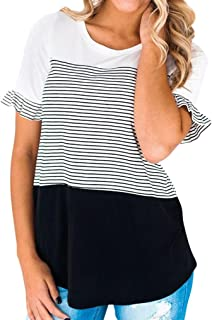 FALAIDUO Women Summer Crop Stitching Patchwork Color Block Striped Short Flared Sleeve Tops Blouse T Shirt